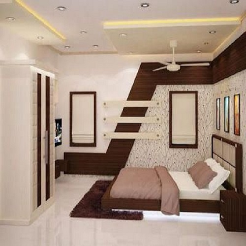 Bedroom Square Pattern False Ceiling