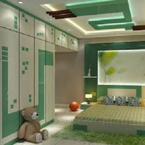 Green Kids Room False Ceiling With Wooden Panelsfalse Ceiling Design Freshhomez